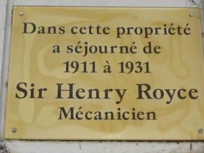 Le rayol Canadel : Ses Monuments LA PLAQUE COMMEMORATIVE SIR HENRY ROYCE